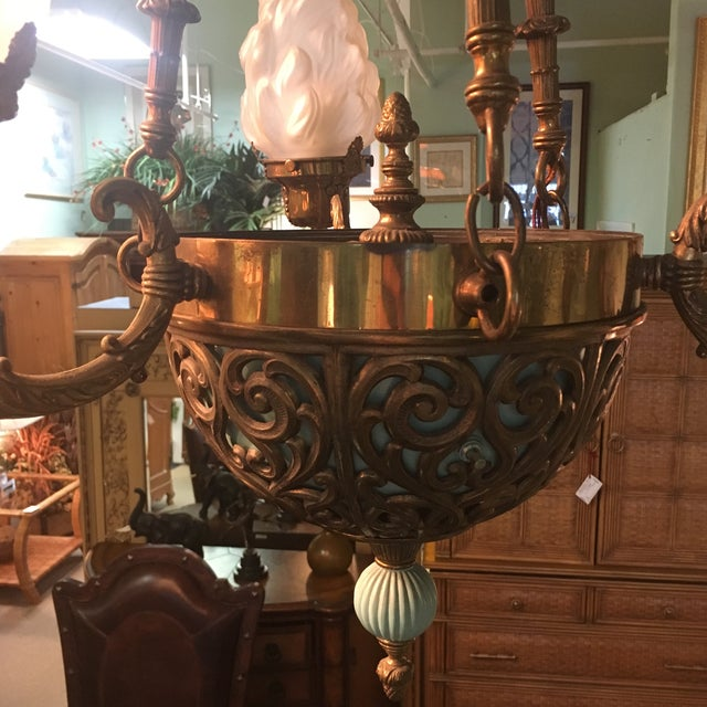 Art Deco Antique Bronze French Art Deco Chandelier With Lalique Style Globes For Sale - Image 3 of 10