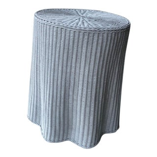 1960s Faux Drape Wicker Table For Sale