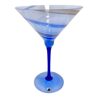 Signed Opus Hand Blown Blue Swirl Martini Glass For Sale
