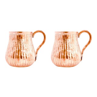 Amoretti Brothers Handmade Copper Mug - Lines - set of 2 For Sale