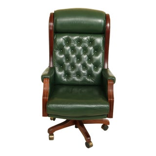 Green Tufted Leather High Back Office Desk Executive Chair For Sale