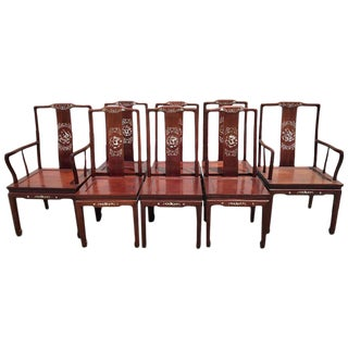 """Eight Chinese Export Mother-of-Pearl Inlaid """"Imperial Dragon"""" Dining Chairs - Set of 8"""