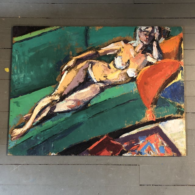 Wood Original Vintage Female Reclining Nude Abstract Painting 1970's For Sale - Image 7 of 7