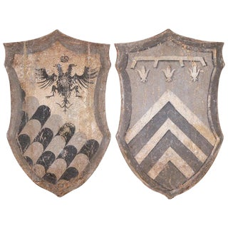 Pair of Early 20th Century Italian Carved Painted Wall Hanging Shields For Sale