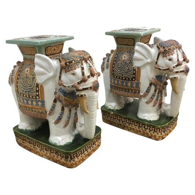 Vintage Elephant Garden Stools - A Pair For Sale