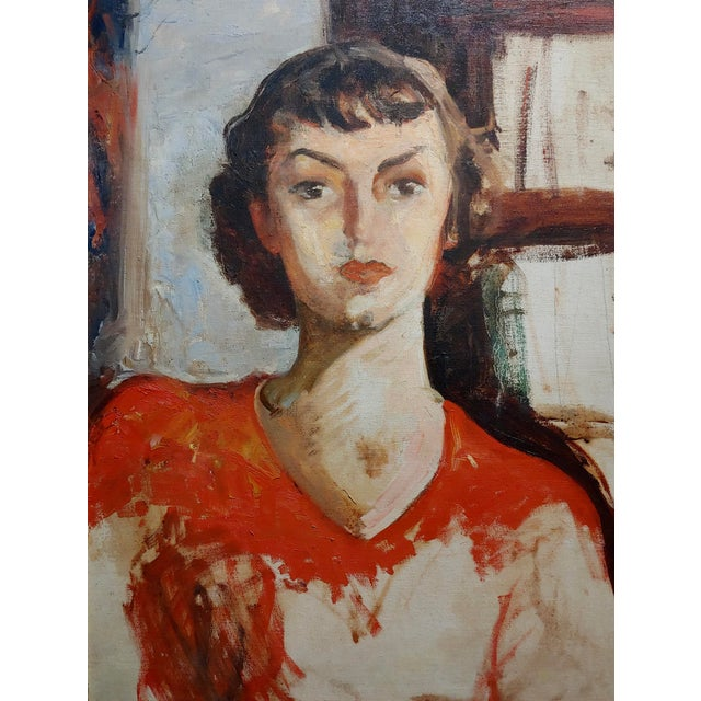 Americana Antonia Greene -1930s Portrait of a Woman in Red -Oil Painting For Sale - Image 3 of 6