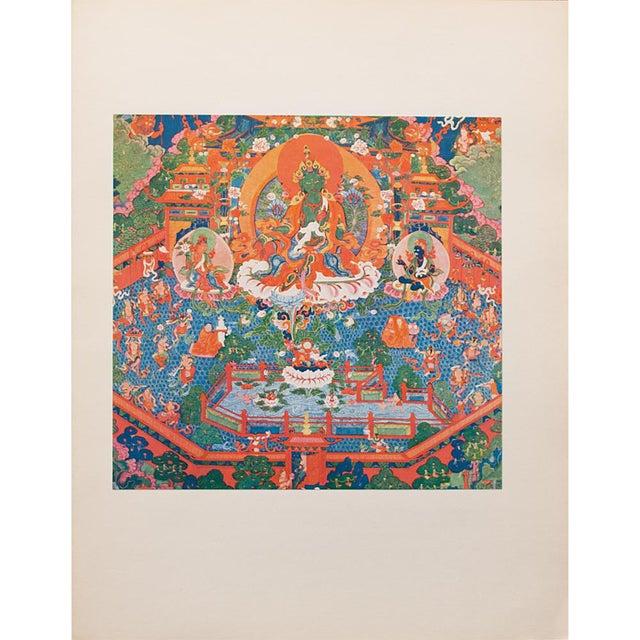 1954 the Paradise of the Tara Goddess, Original Parisian Photogravure After 18th C. Tibetan Painting For Sale