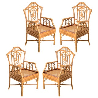 Vintage Pagoda Bamboo Cane Seat Chairs, A-Set of 4 For Sale