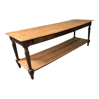 Large 19th Century French Elm Draper's Table For Sale