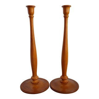 Simple Tall Maple Candlesticks - A Pair For Sale