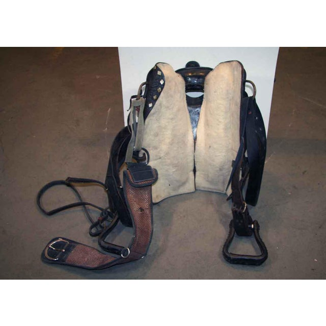 Antique Leather Horse Saddle For Sale - Image 4 of 10