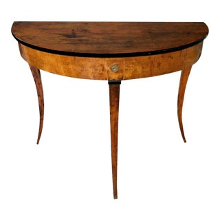 Italian Neoclassical Walnut and Beechwood Demi-Llune Table For Sale