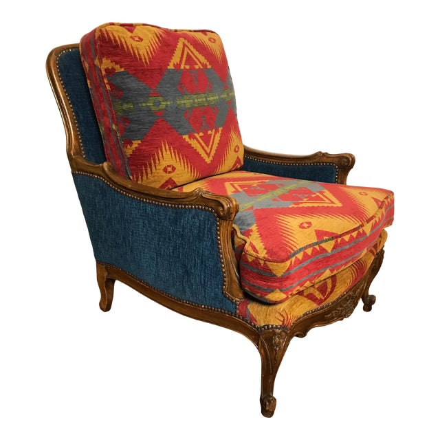 19th Century French Upholstered and Carved Armchair For Sale