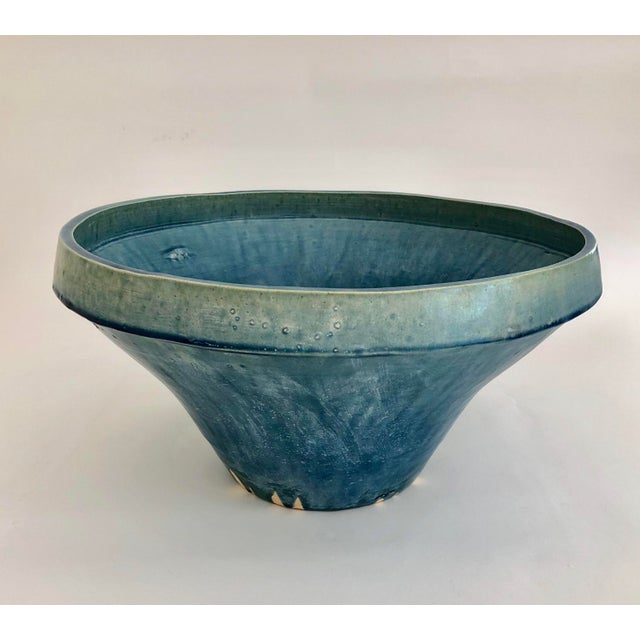 2000s Boho Chic Cerulean Glazed Pottery Bowl For Sale - Image 5 of 6