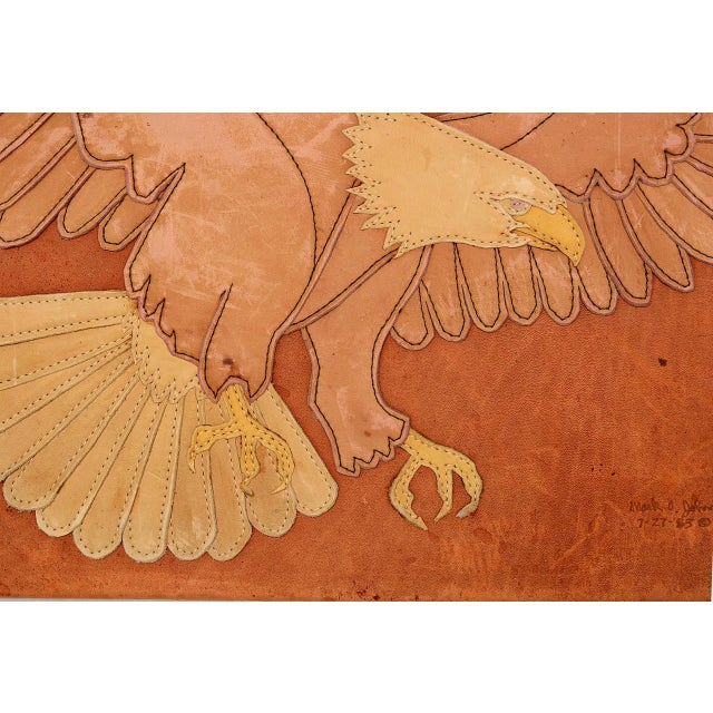 1980s Marc O Johnson Eagle in Leather Art Work For Sale - Image 5 of 10