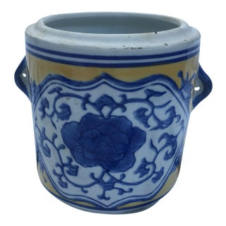 Vintage Blue & Yellow Chinoiserie Planter Pot