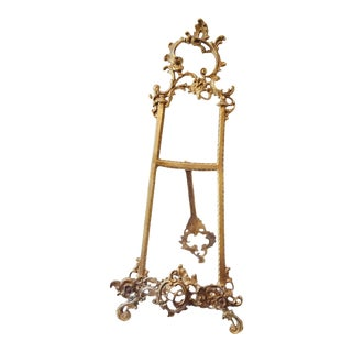 Vintage Art Noveau Brass Table Easel For Sale