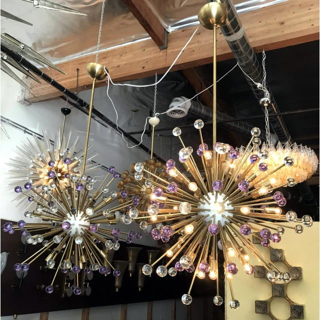 White Clear and Purple Burst Sputniks by Fabio Ltd ( 2 Available) For Sale - Image 8 of 10