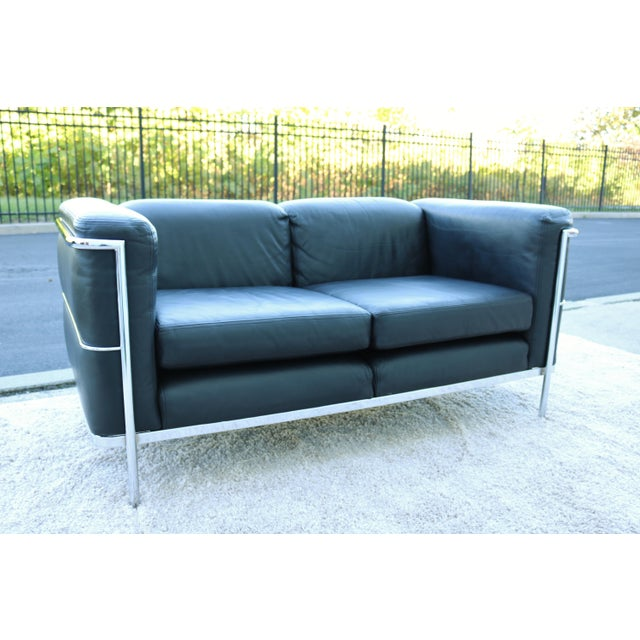 Black 1980's Le Corbusier LC2 Jack Cartwright Black Leather Loveseat For Sale - Image 8 of 13