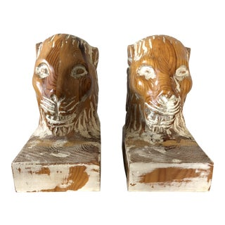 Sarreid Ltd Wood Lion Head Bookends - a Pair For Sale