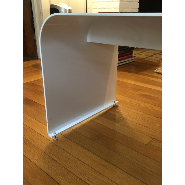 1970s Vintage Steel Waterfall Dining Bench For Sale - Image 4 of 5