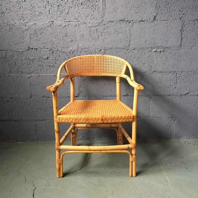 Bamboo and Cane Dining Chairs - Set of 4 - Image 7 of 11