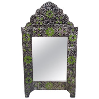 Moroccan Ultra Arched Metal Inlaid Mirror, Rabat, Green Motif For Sale