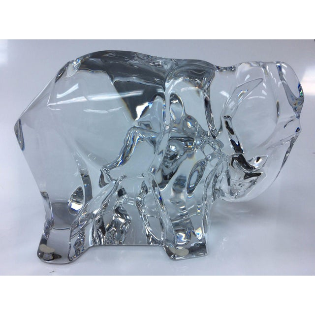 Modern Baccarat Crystal Elephant With Baby For Sale - Image 3 of 7
