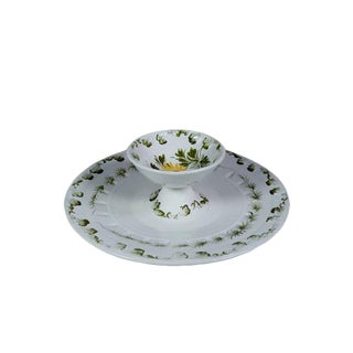Tiered Italian Majolica Serving Bowl, Marked and Numbered For Sale