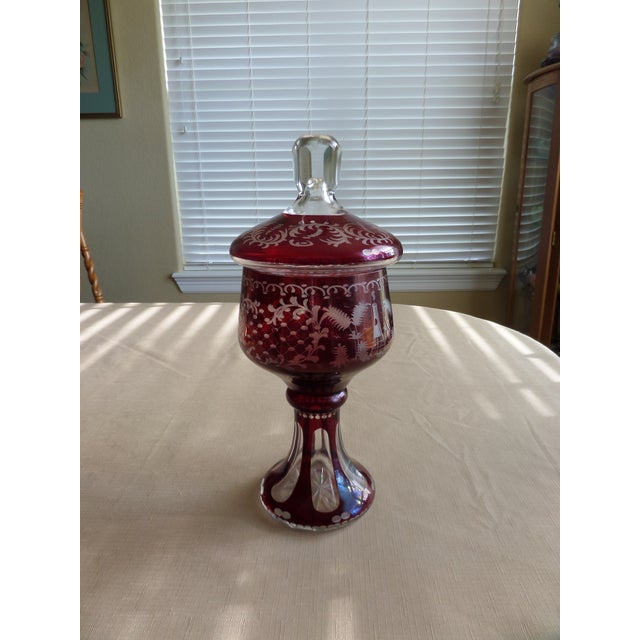 Bohemian Ruby Cut to Clear Covered Compote For Sale - Image 9 of 11