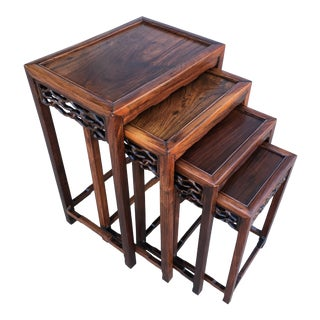 20th Century Chinese Rosewood Nesting Tables - Set of 4 For Sale