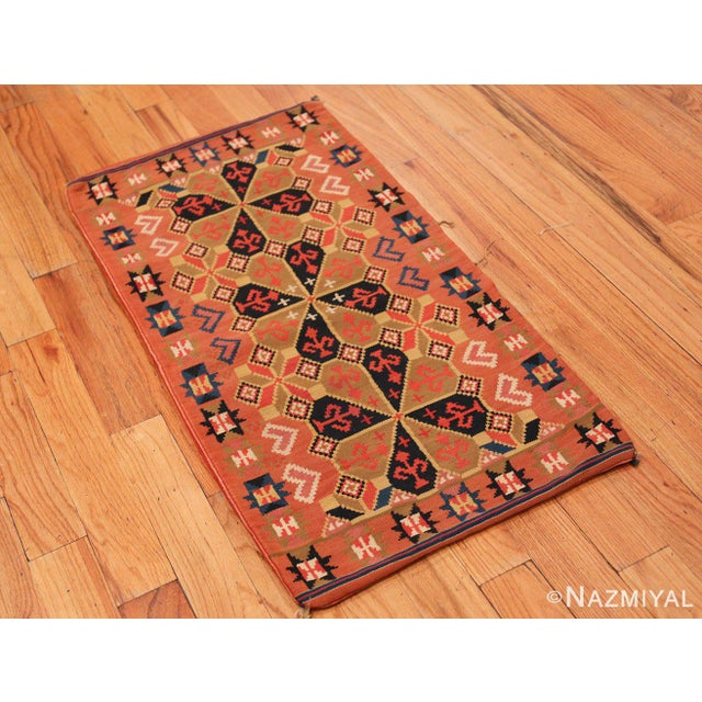 Small Vintage Swedish Kilim Scatter Size Rug, Origin: Sweden, Circa: Middle Part Of The 20th Century – Expertly styled and...