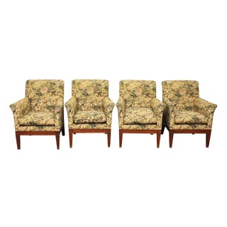 Floral Upholstered Arm Chairs - Set of 3 For Sale