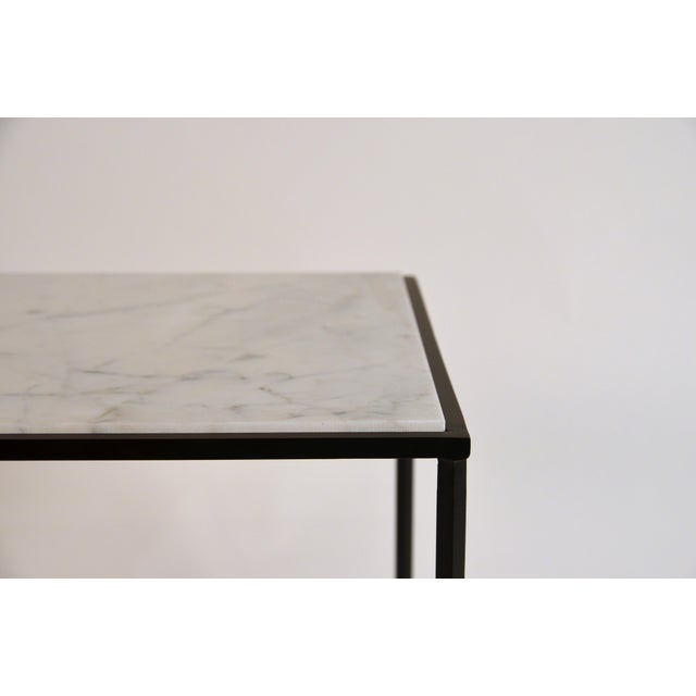 2010s 'Entretoise' Wrought Iron and Honed Marble Side Tables by Design Frères - a Pair For Sale - Image 5 of 8
