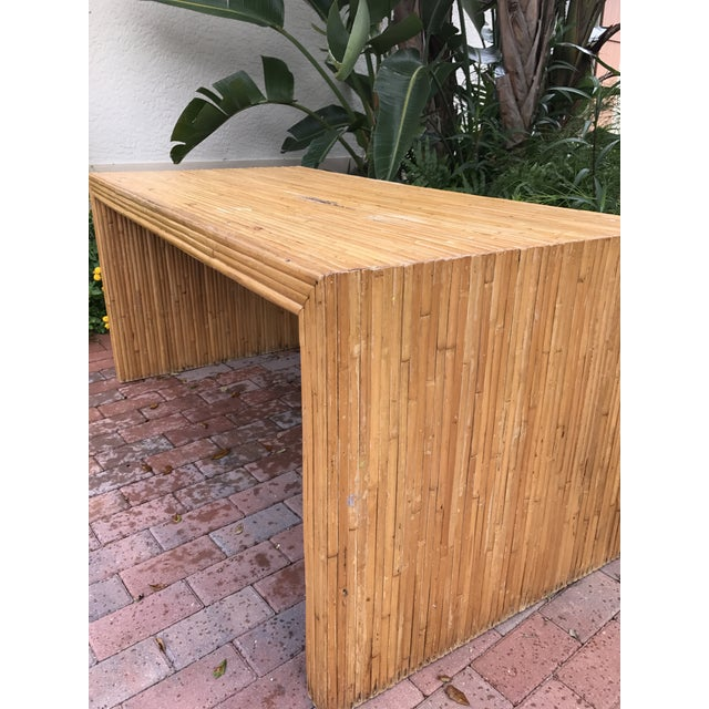 Vintage Pencil Reed Bamboo Waterfall Dining Table or Desk For Sale - Image 6 of 9