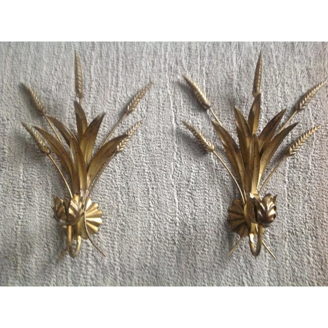 Mid Century Gold Gilt Sheaf Wheat Sconces - a Pair - Image 2 of 7