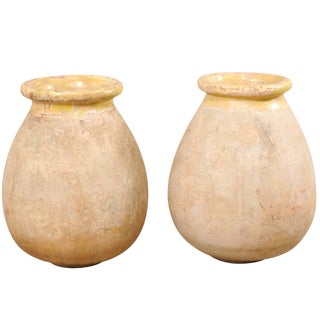 Pair of French 19th Century Biot Terracotta Pale Yellow Glazed Olive Jars For Sale