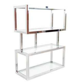 Mid-Century Modern Chrome and Glass Shelf Etagere For Sale