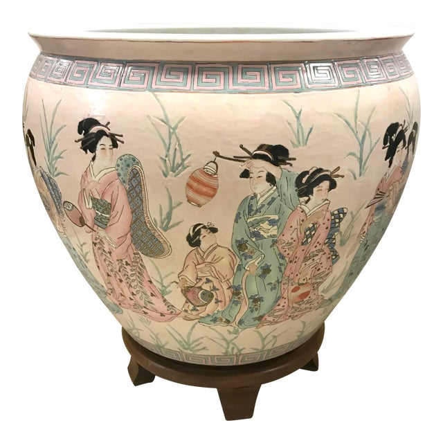 Chinese Pink Porcelain Fishbowl Urn Planter on Stand For Sale
