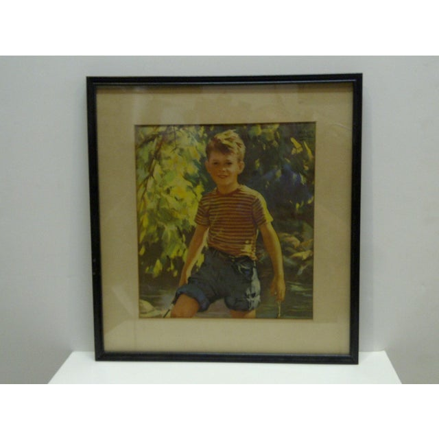 """This is a Vintage Print -- Titled """"Boy Outdoors"""" -- Circa 1940 -- The Print Is Matted And Framed."""