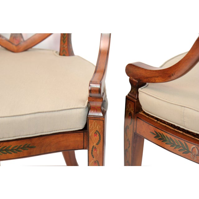 Satinwood Hand Painted Armchairs - Pair - Image 2 of 3