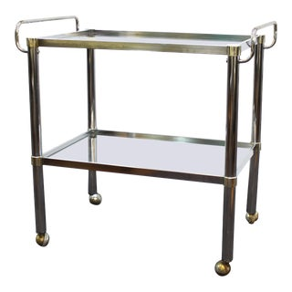 1970s Modern Metal Bar Cart With Glass levels For Sale