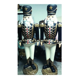 Vintage Plaster Christmas Nutcracker Toy Soldier Statues - A Pair For Sale