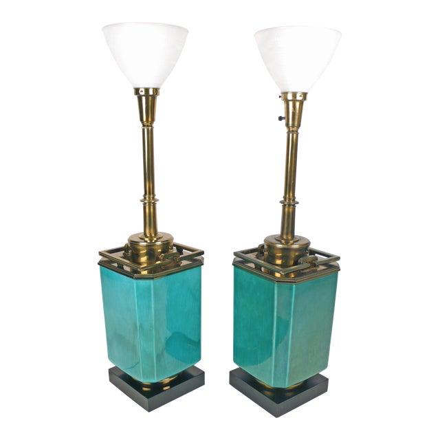 Jade Blue Ceramic Stiffel Lamps For Sale