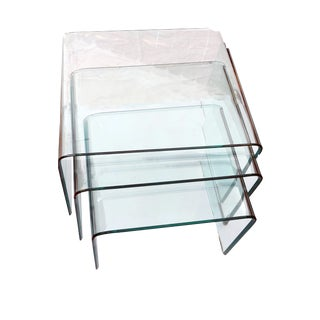 1970s Vintage Minimalist Italian Beveled Glass Waterfall Nesting Tables - Set of 3 For Sale