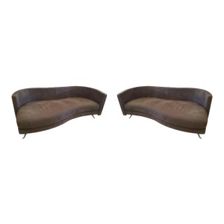 1980s Mid-Century Modern Rolf Benz Coffee Upholstered Sofas - a Pair