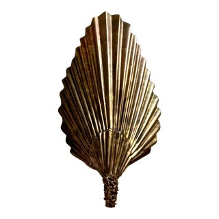 Brutalist Moderne Brass Fan Sconces, Pair