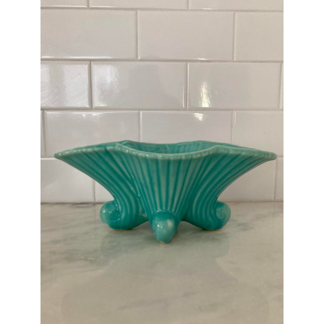 Art Nouveau Late 20th Century Aqua Fluted and Flared Planter For Sale - Image 3 of 9