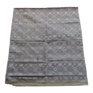 Vintage Purple and Silver Woven Silk Obi Textile For Sale