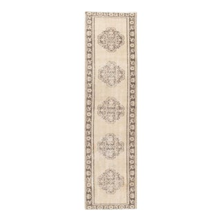 Vintage Shabby Chic Turkish Oatmeal Oushak Runner 2'9 X 10'1 For Sale